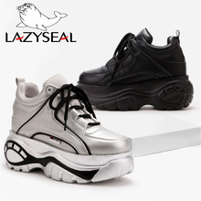 LazySeal Platform Shoes Women Boots Spring Sports Ultra-light Height Increasing Boot Woman Thick Soled Lace-up High-heeled Shoes