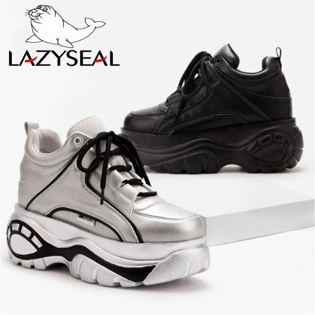 LazySeal platform ayakkabılar Kadın Çizmeler Bahar Spor Ultra-ışık Yüksekliği Artan Önyükleme Kadın Kalın Soled Dantel-up Yüksek- topuklu ayakkabılar