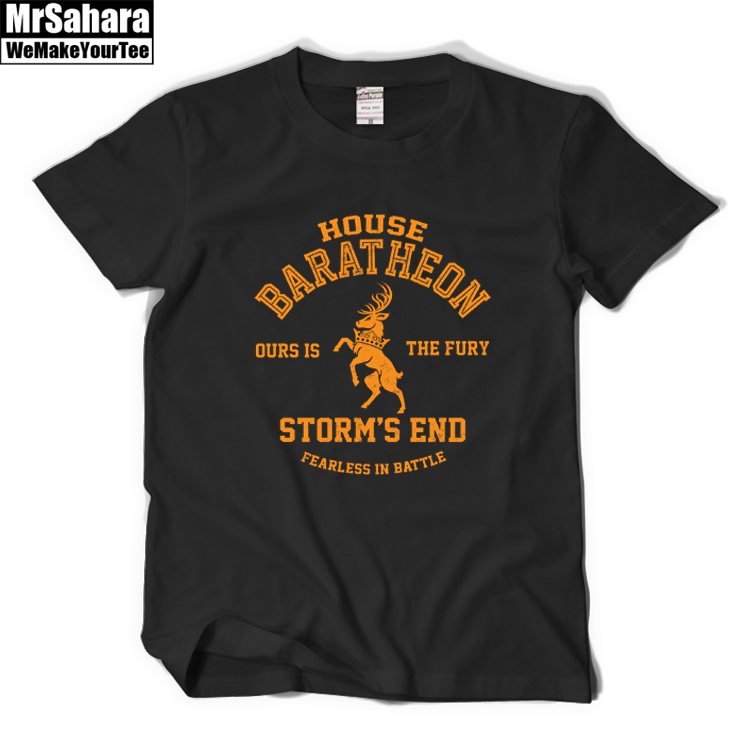 House Baratheon T Shirt A Song Of Ice And Fire Shirt Game Of Thrones T Shirt Tees Men Summer T-Shirt Short Sleeve Cotton Shirts