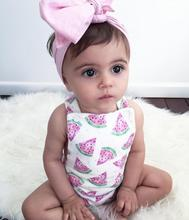 Newborn Baby Clothing Baby Girls Fashion Chiffon Bracing Watermelon Printed Short Rompers with Hair Bands Free