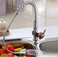 Copper Pull Type Kitchen Faucet Hot And Cold Basin Tensile Vegetables Basin Sink Kupper