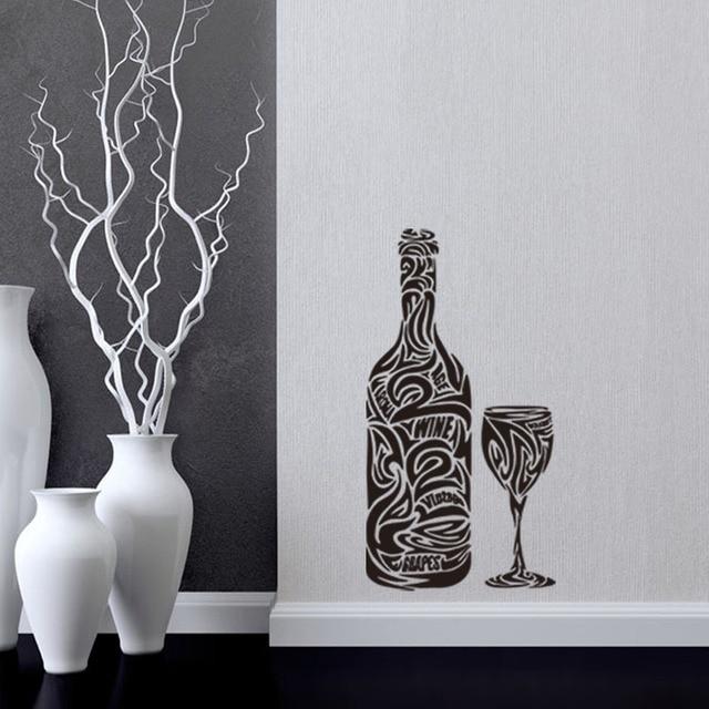 Diseño de la cocina pared stickersart mural patrón de la botella de ...
