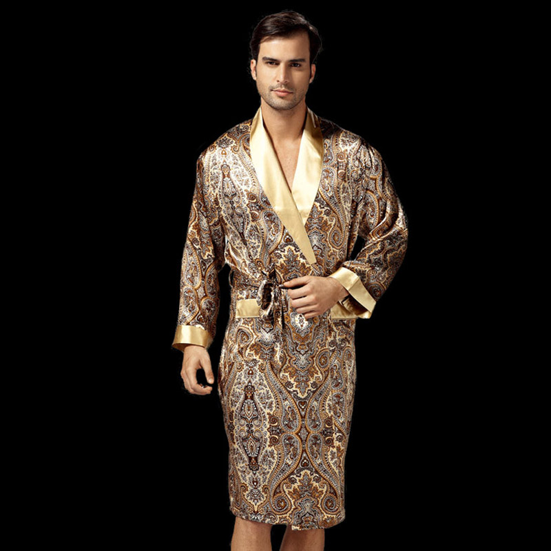 100% Silk Sleeping Robes Male Autumn Long-Sleeve Fashion Printed Bathrobe Kimono Silkworm Silk Men's Sleepwear Kimono 2035B