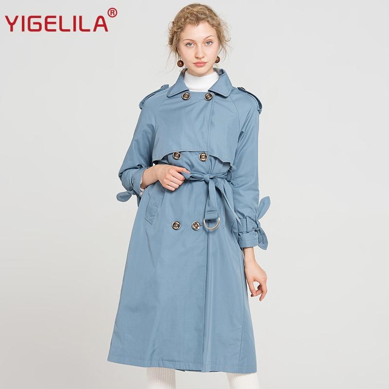YIGELILA Latest 2019 Women Fashion Blue Trench Coat Turn Dow
