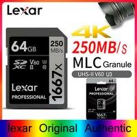 Карты памяти Lexar 1667X V60 250 МБ/с. флэш-памяти sd карты s 64 gb 128 gb UHS-II U3 micro sd карта SDXC 256 GB для 3D 4 K видео высокой четкости