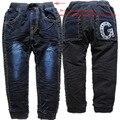 3675 прямо зима теплая мальчик девочка мягкие дети джинсы флис мальчики девочки темно-синий + черный случайные брюки брюки