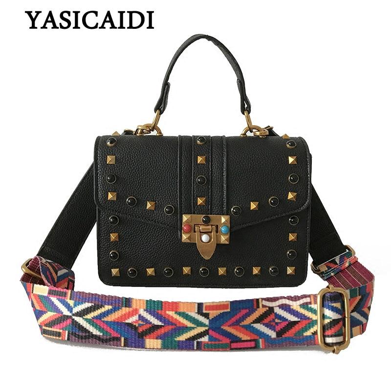 Women Handbags Crossbody Bag Rivet Small Brand Fashion Handbag Pu Leather Colorful Wide Straps Shoulder Bag Messenger Bag