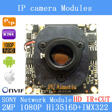"Ipc 1080 p 1920×1080 1/2. 8 ""cmos hi3516d + sony imx322 cctv ip camera módulo board + hd ir-cut dual-filtro interruptor"