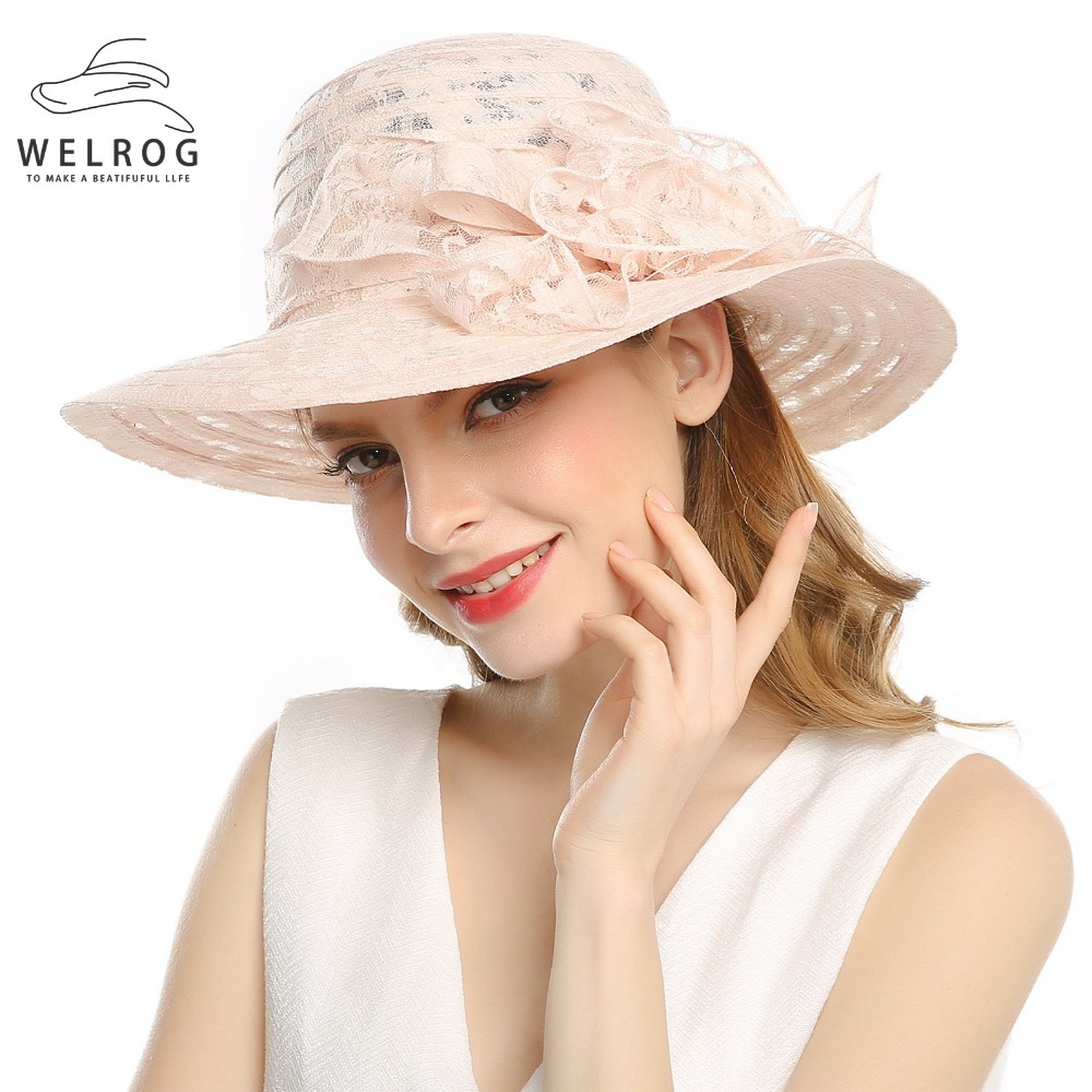 2a1780c657df WELROG Women's Organza Church Kentucky Derby Fascinator Bridal Tea Party  Wedding Hat New Summer Female Pink