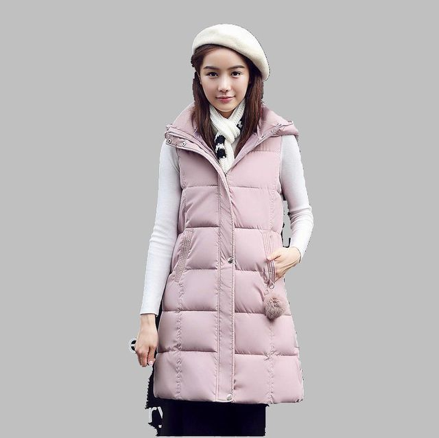 Latest Winter Fashion Women Down jacket  Hooded tThicken Super warm Medium long Vest Coat Pure color Loose Big yards Coat SJ1152