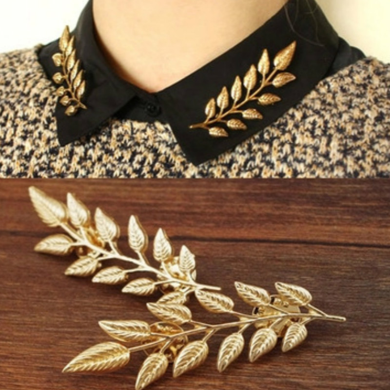 2016 New Fashion Alloy Golden Ears Of Wheat Left Vintage Shirt Suits Men And Women Brooch Jewelry Wholesale (one Pair Price)