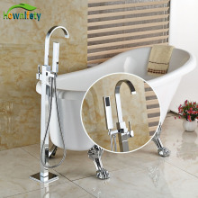 Floor Standing Tub Faucet Chorme Polish Single Handle Bathroom W/Hand Shower Tap Hot&Cold Water Faucet