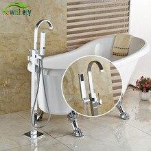 Dikili Küvet Bataryası Chorme Lehçe Tek Kolu Banyo W/El Duş Dokunun Sıcak ve Soğuk Su Musluk