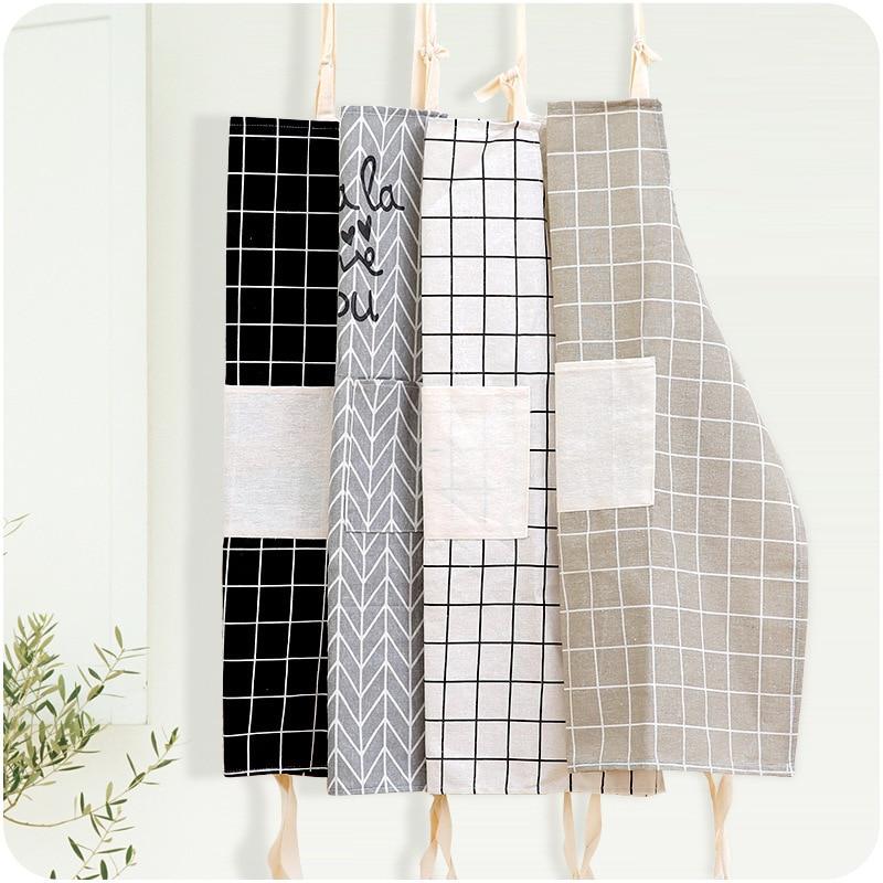1Pcs Plaids Striped Cotton Linen Apron Woman Adult Bibs Home Cooking Baking Coffee Shop Cleaning Aprons Kitchen Accessory 46096