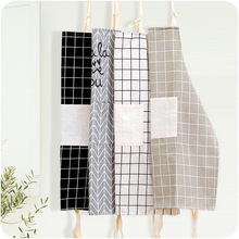 Linen Apron Kitchen-Accessory Baking Plaids Cleaning Home-Cooking Cotton Bibs Coffee-Shop