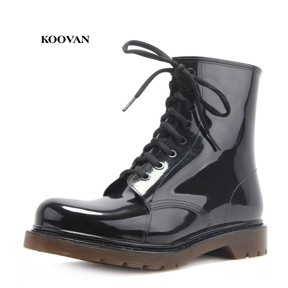 Koovan Man Rain Boots 2018 New Fashion Men Shoes Rainboots Men Black Leather Boots Rain Shoes Large Size 39-45