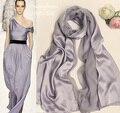 Design da Marca de moda senhoras lenços Mulheres Lenço de Seda Prata 100% xales de seda Lenços Patchwork Cinzento Grande Festa Inverno Pashmina
