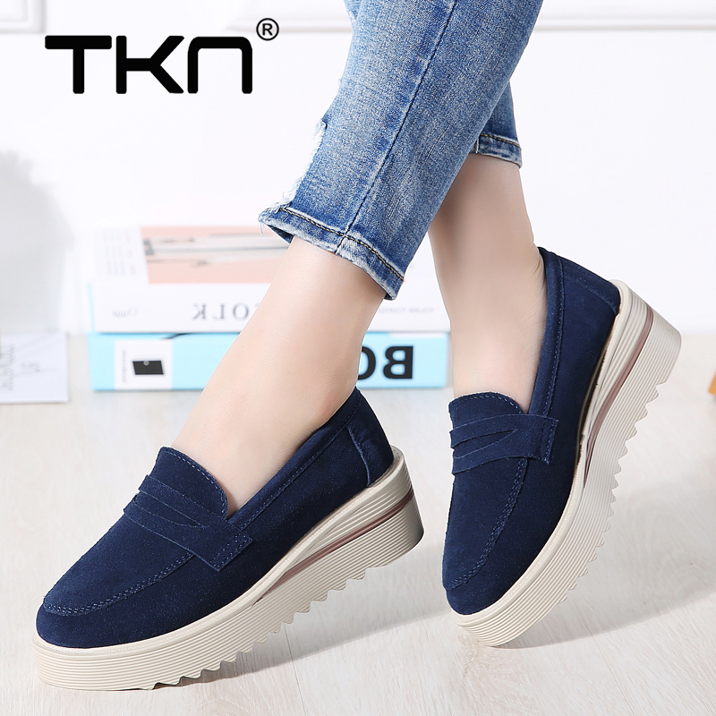 TKN 2019 Spring Women Flats Platform Shoes   Leather     Suede   Footwear Woman Slip on Chaussure Femme Sneakers Creepers Moccasins 2855