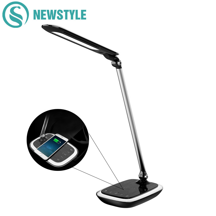 Wireless Charging Phone Equipment LED Desk Table Lamp 3-Grade Brightness Eye-protection Reading Desk Table Light new restaurant equipment wireless buzzer calling system 25pcs table bell with 4 waiter pager receiver