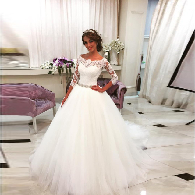 5c7b8c11a0 Hot Sale Noble Three Quarter Ball Gown Wedding Dresses Simple Lace  Appliques Wedding Gowns Cheap Beaded