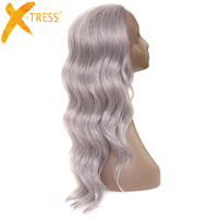 Long Body Wave Lace Front Synthetic Hair Wigs With Baby Hair X TRESS Silver Grey Platinum Color Free Part Hair Wig For Women