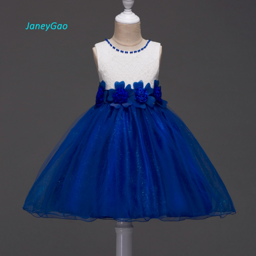 JaneyGao   Flower     Girl     Dresses   For Wedding Party Prom First Communion Birthday White Blue Purple Sleeveless With Appliques Bow Hot