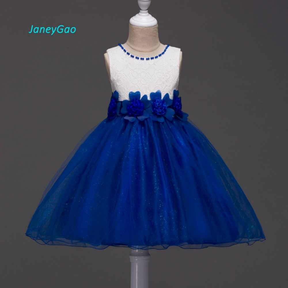 JaneyGao פרח ילדה שמלות לחתונה מסיבת נשף ראשון הקודש יום הולדת לבן כחול סגול ללא שרוולים עם אפליקציות Bow חם