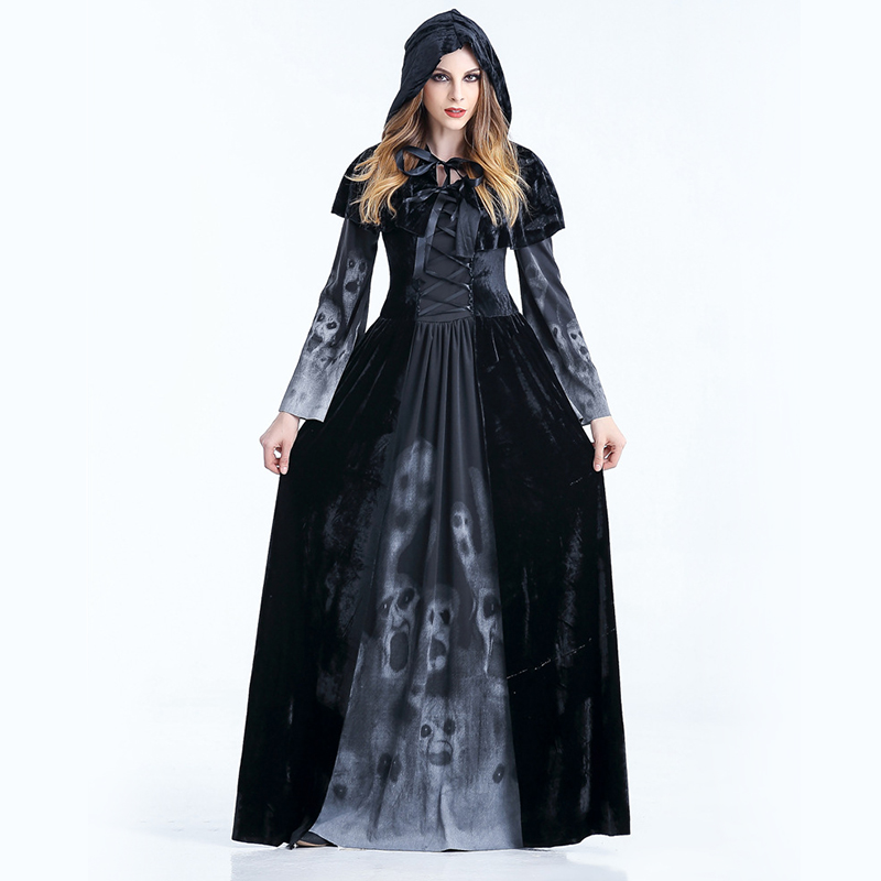 Hooded Witch Demon Cosplay Halloween Witch Suit Cosplay