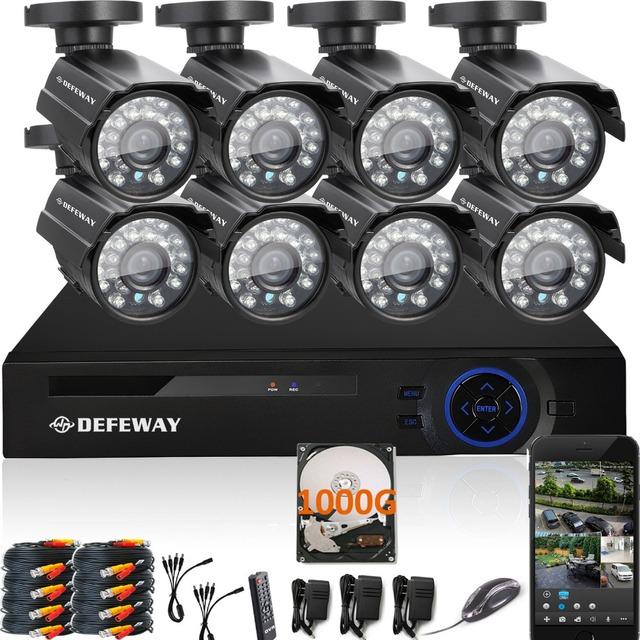 1080N DEFEWAY 8CH HDMI DVR 1200TVL 720 P HD Câmera de Segurança Ao Ar Livre sistema de 1 TB Hard Drive Kit de 8 Canais CCTV DVR AHD Câmara conjunto