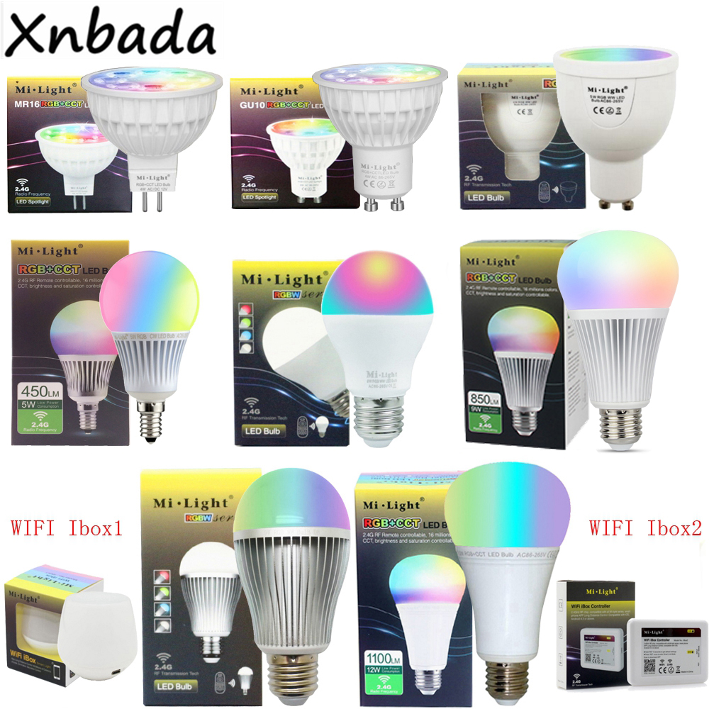 Milight 2.4G Led Lamp 4W 5W 6W 9W 12W CCT/RGBW/RGBWW/RGB+CCT Led Bulb,MR16 GU10 E14 E27 Led Light zigbee bridge led rgbw 5w gu10 spotlight color changing zigbee zll led bulb ac100 240v led app controller dimmable smart led
