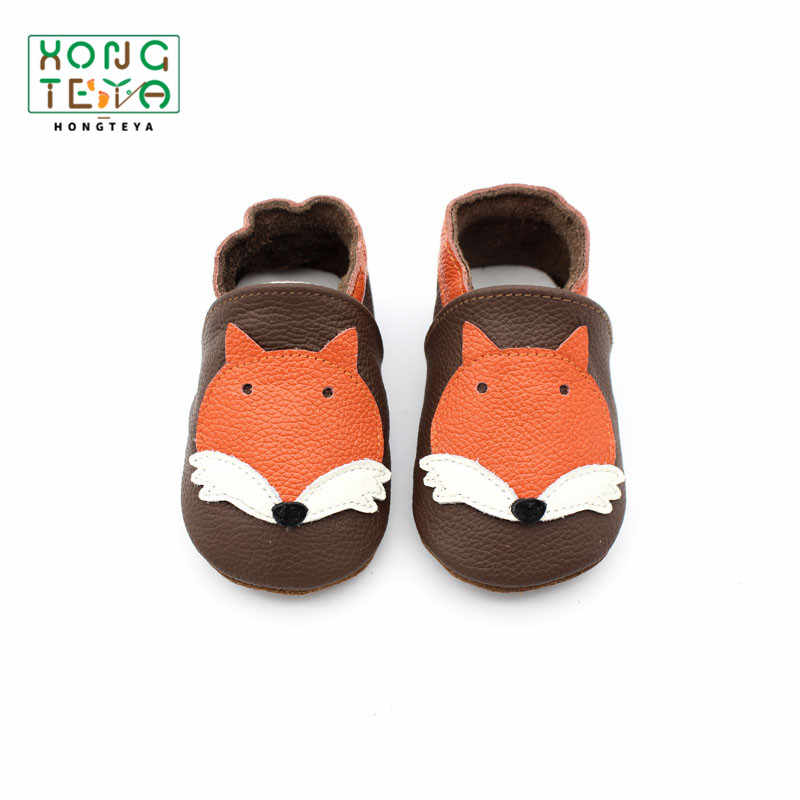 Cartoon Fox Pattern Baby Moccasins Toddler Boy Girl Soft Bottom Crib Shoes Genuine Leather Infant Newborn First Walker for Baby