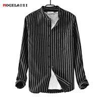 Striped Men Shirts long sleeve Linen man shirt Flax linen cotton male shirt white chemise homme camisa masculina size M 3XL 9209