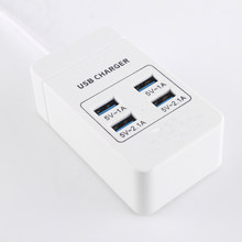 USB Charger 4 Port EU/US/UK Steker 2.1A Dinding Soket Dock Pengisian Cepat Ekstensi Power Adaptor untuk ponsel Tablet(China)