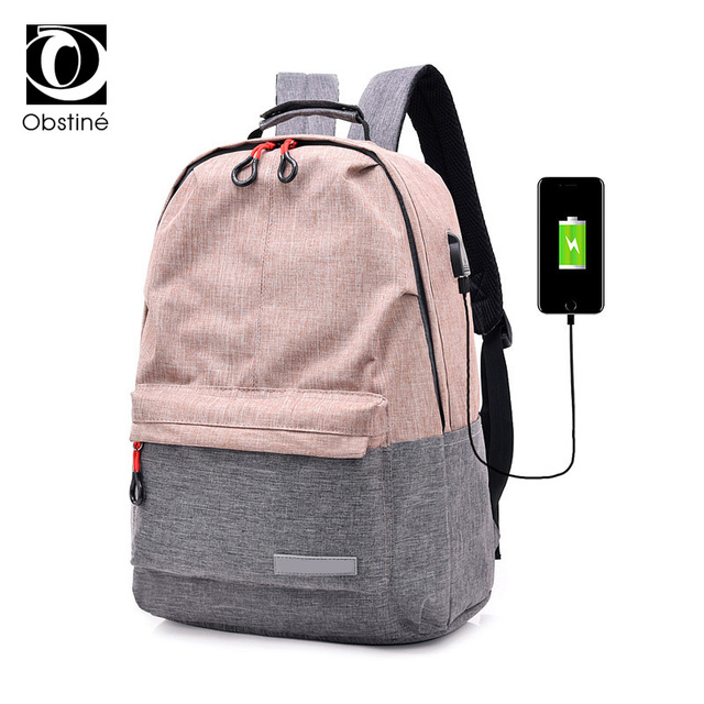 ... Bags For  new concept 01aee ce8aa Bagpack Women College Canvas Backpack  usb Charger Charging Schoolbag for Laptop Backpacks ... 49b58ba343