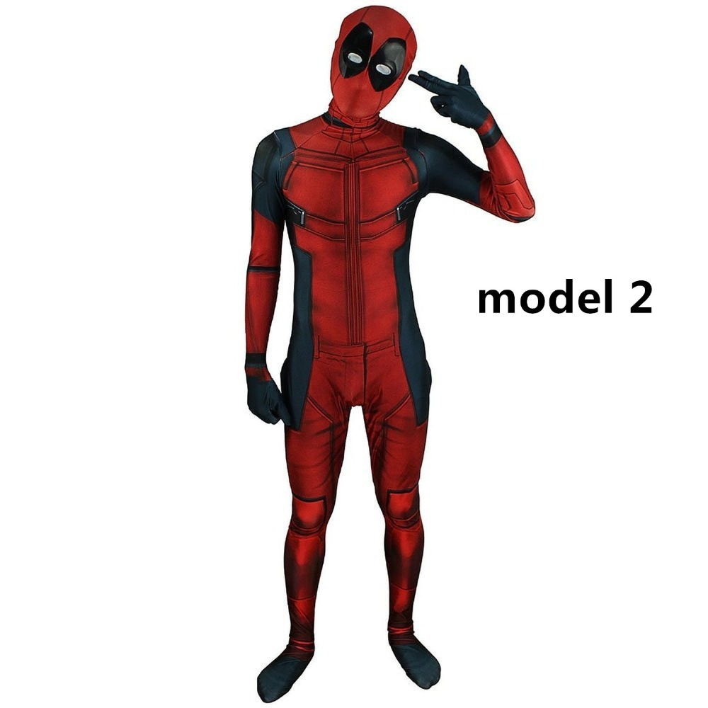 Unisex Adults Marvel Comic Deadpool Costume with Mask Spandex Printed Deadpool Cosplay Costume Superhero Halloween Zentai Suits