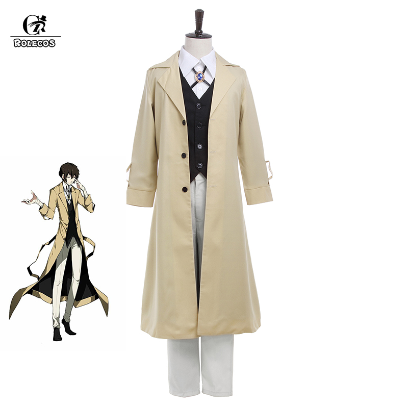 ROLECOS Bungo Stray Dogs Dazai Osamu Cosplay Costume Armed Detective Agency Member Bungou Stray Dogs Cosplay Outfit Full Set