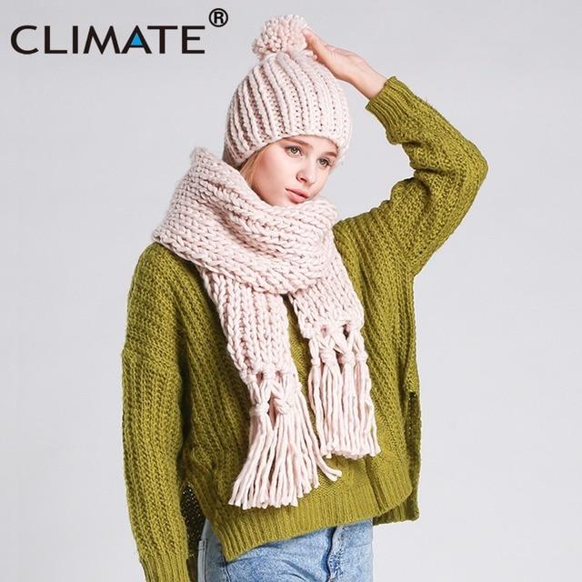 3f8454a4f4 US $20.78 40% di SCONTO|CLIMA Donne Inverno Sciarpa E Cappello Set di  Inverno Delle Ragazze Lady Warm maglia Pompon Beanie Bonnet Cappello  Sciarpa Set ...