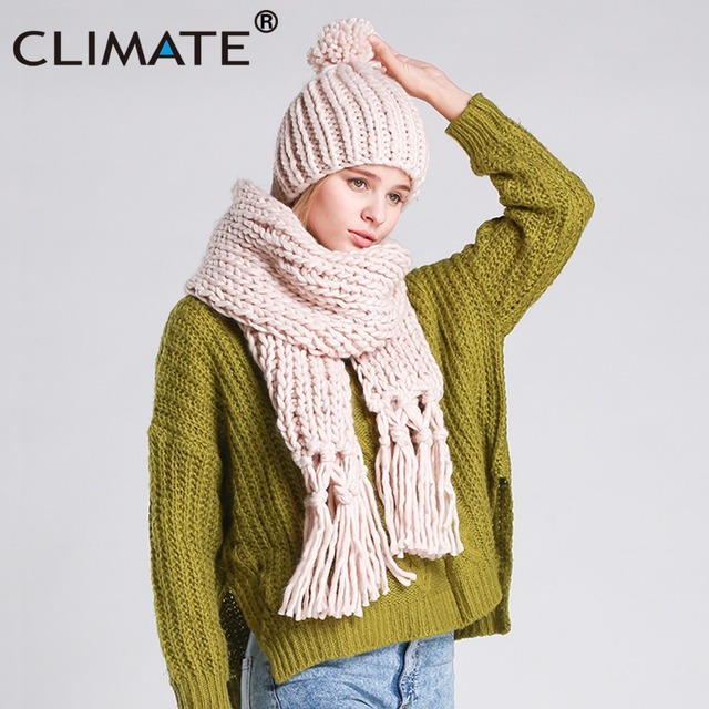 56d06e302fd CLIMATE Women Winter Scarf And Hat Set Winter Girls Lady Warm Knit Pompom  Beanie Bonnet Hat