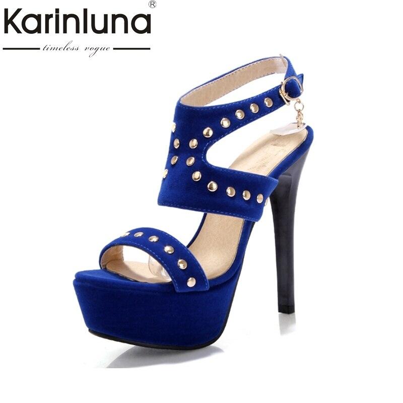 KARINLUNA Big Size 34-43 New Arrivals Platform Flock Rivets Gladiator Women Shoes Sexy Thing High Heels Party Sandals Lady