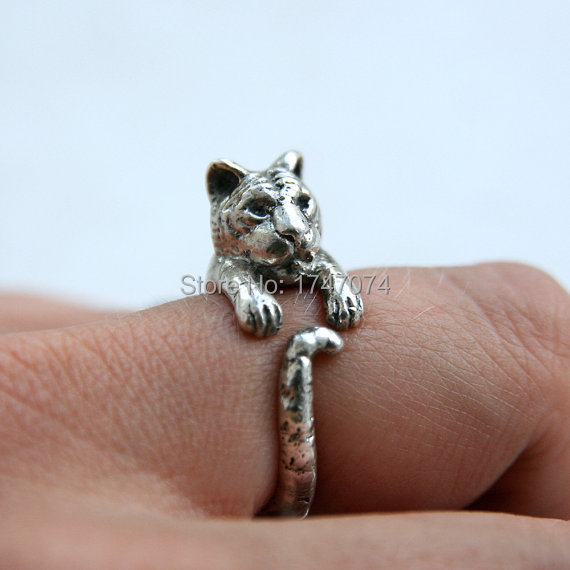 party jewely chic crystal cute girls item color fashion rings tiger charm women alloy gold for