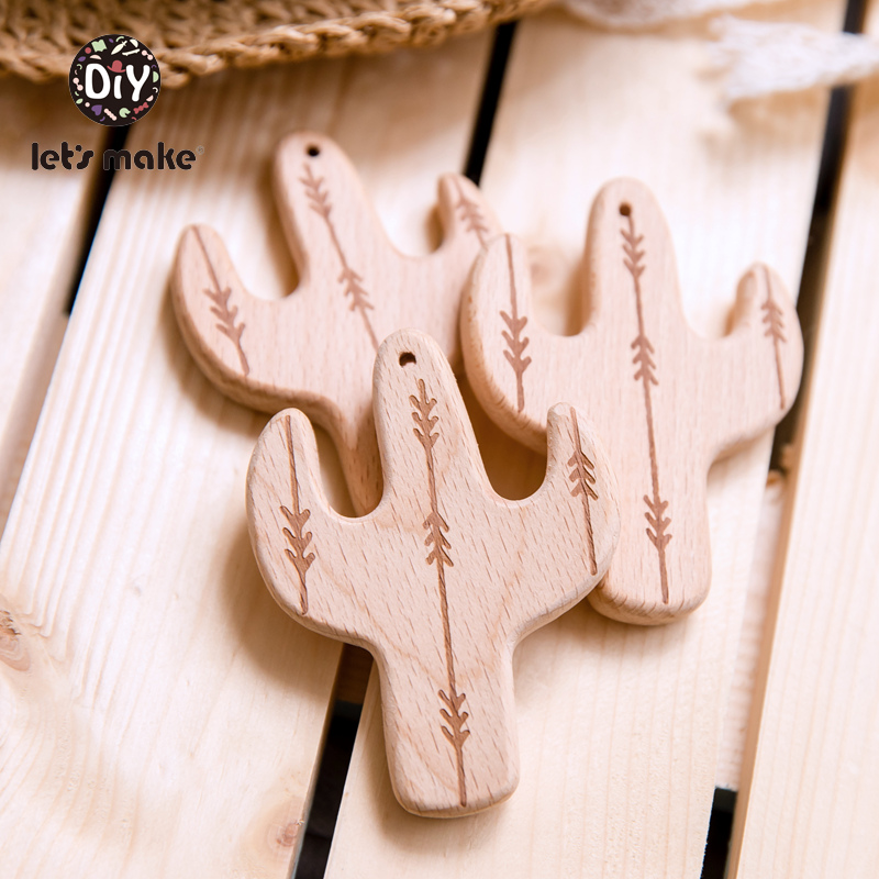 Let's Make Wooden Teethers Cartoon Teething Shape Cactus Leaves Tent 1pc DIY Nursing Product Beech Wood Food Grade Baby Teethers