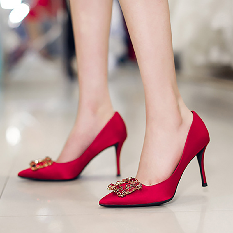 Silk Pumps Women Wedding Shoes Crystal High Heels Buckle Red Blue Genuine Leather Stiletto Fashion Ladies Sexy Bride Party Shoes russian keyboard for dell a840 a860 vostro 1014 1015 1088 pp37l r811h 0r811h r818h 0r818h pp38l ru black v080925bs1