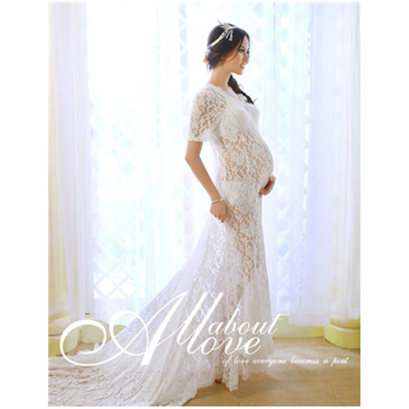 цена на Fashion White Lace Mama Gown Croceht Lace Women Maxi Long Pregnant Dresses Deep V-neck Maxi Lace Gown Photography