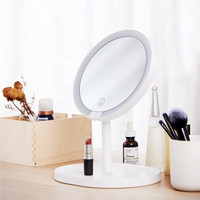 2 in 1 Protable LED Makeup Mirror Rechargeable White Desktop Decor Touch Light Makeup Bath Mirrors Accessories for Bathroom