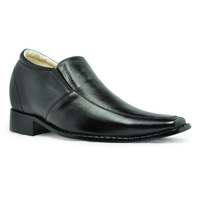 6132- Black Rubber Cowhide Men's Elevator  Shoes gain 3.15 inches about 8cm