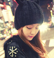 Knitted hat knitted fashion cat ear devil horn ladies winter hat free shipping
