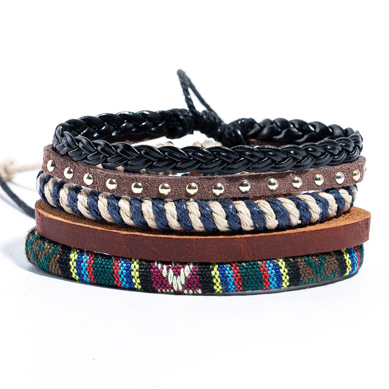 12 Style Metal Leather Bracelets Men Jewelry Vintage Classic Retro Plant Charm Bracelet Bangles Homme Male Jewellry 20.5CM 5