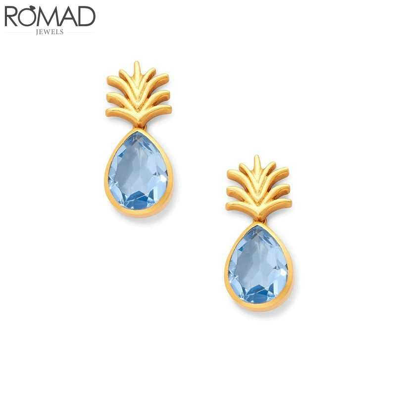 ROMAD kryształ kolczyki dla kobiet biżuteria dla nowożeńców, dla kamień kolczyki rhinestone niebieski kolczyki ślubne owoce ananas kolczyk party biżuteria R5