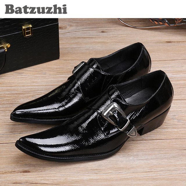 Batzuzhi Anese Style Fashion Square Toe Men S Shoes Black Leather Dress Buckle Low Help