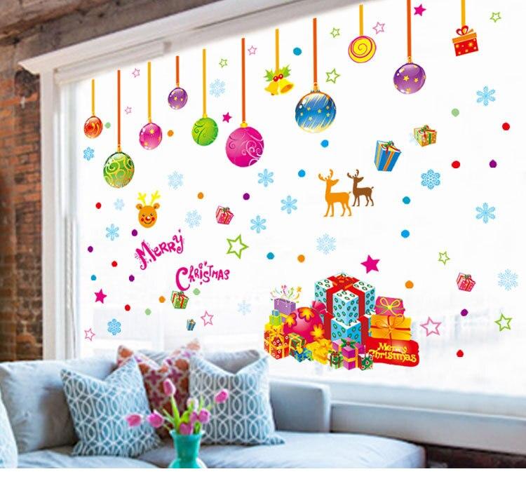 Pegatinas сравнению нового года окна рождественские украшения Наклейки на стену на стене Домашний декор для детей номеров Adesivo де Parede muraux ...
